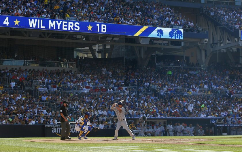 Padres' Wil Myers bats at the All-Star Game at Petco Park.