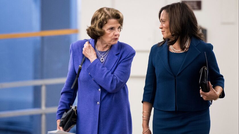 Sen. Dianne Feinstein, left, and Kamala Harris, both Democrats, do not support the three nominees proposed by the White House for California seats on the 9th Circuit Court of Appeals.