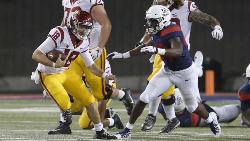 Southern California quarterback JT Daniels (18) in the first half during an NCAA college football ga