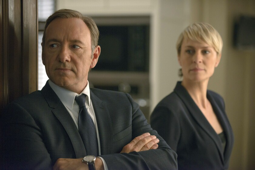 """Kevin Spacey as Francis Underwood, left, and Robin Wright as Clair Underwood in a scene from Netflix's original drama """"House of Cards."""""""