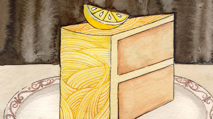 "Illustration for the review of the book, ""The Particular Sadness of Lemon Cake"" by Aimee Bender"