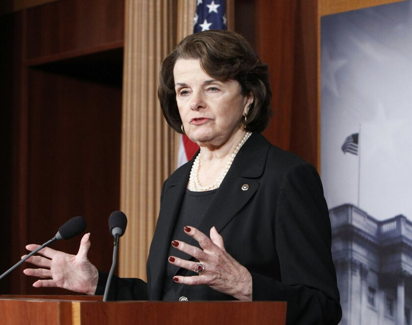 """This photo taken Dec. 21, 2012 photo Sen. Diane Feinstein, D-Cal., chair of the Senate Intelligence Committee, speaking at a Capitol Hill news conference in Washington. Sunday in Washington, Aug. 31, 2014, Feinstein said President Barack Obama may be """"too cautious"""" in his approach to dealing with Islamic State militants. Speaking on NBC's """"Meet the Press"""" she said that the Defense and State departments have been putting together a response to the threat, and has seen nothing to compare to the viciousness of the militants who have overrun large portions of Iraq, killed civilians and beheaded American journalist James Foley. Feinstein says the Islamic State group has financing, military structure and weapons unlike any other militants and called them """"extraordinarily dangerous."""" (AP Photo/Ann Heisenfelt, File)"""