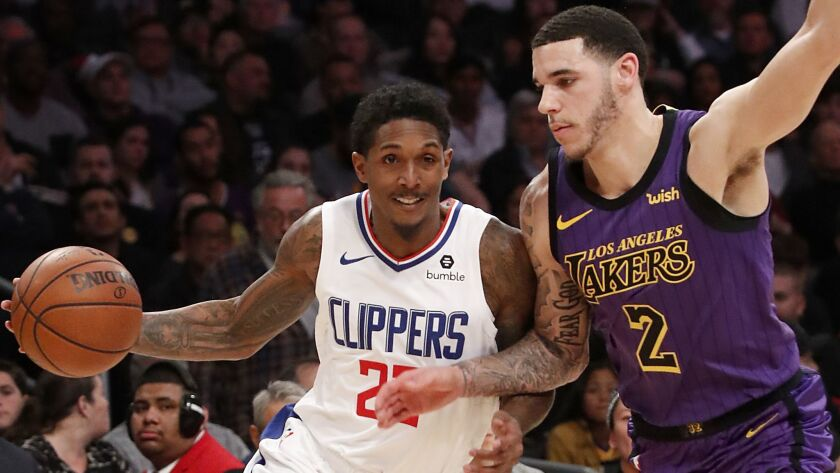 LOS ANGELES, CALIF. - DEC. 28, 2018. Clippers guard Lou Williams drives to the basketagainst Laker