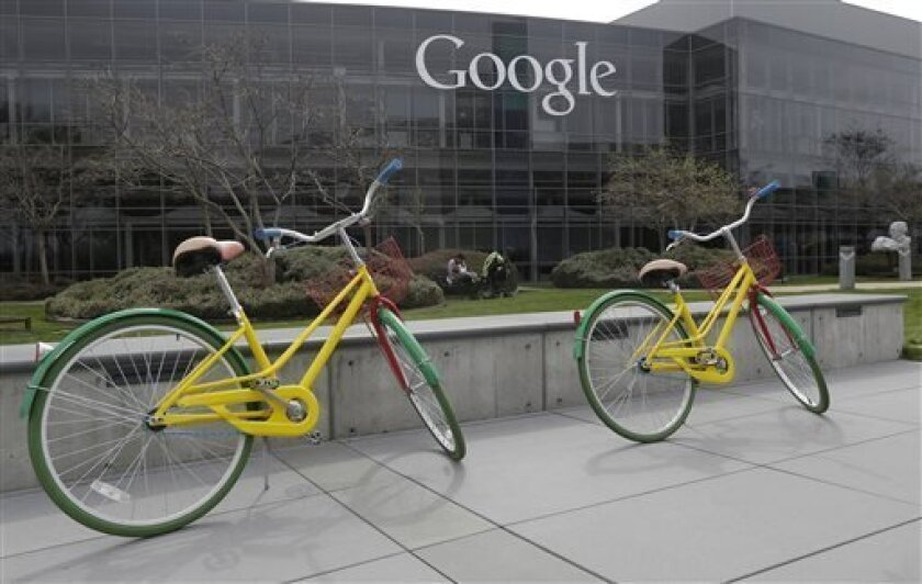 Google bicycles are shown at the Google campus in Mountain View, Calif., Friday, March 15, 2013. Companies say extraordinary campuses are a necessity, to recruit and retain top talent, and to spark innovation and creativity in the workplace. And there are business benefits and financial results for