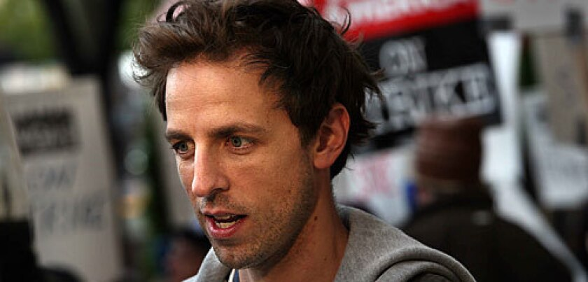 """""""Saturday Night Live's"""" Seth Meyers, shown during picketing, had a message for blogger Nikki Finke."""