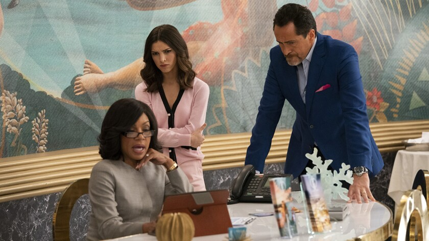 "Wendy Raquel Robinson, left, Denyse Tontz and Demian Bichir in ""Grand Hotel"" on ABC."