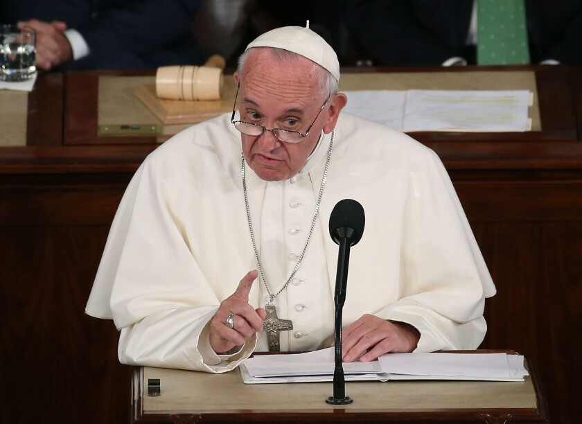 Pope Francis addresses a joint meeting of the U.S. Congress in the Capitol's House chamber.