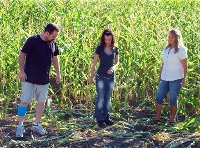 In this Monday, Oct. 3, 2011 photo provided by the Preston Citizen, from left, Michael Vaughn and his 17-year-old daughter Alexis talk with Sue Panter in a corn field where Panter on was attacked Friday, Sept. 30 by a mule deer near Franklin, Idaho. Panter was able to escape the attack after the Vaughns fought off the buck, grabbing the antlers and striking it with a hammer until it fled, state wildlife officials said. (AP Photo/Preston Citizen)