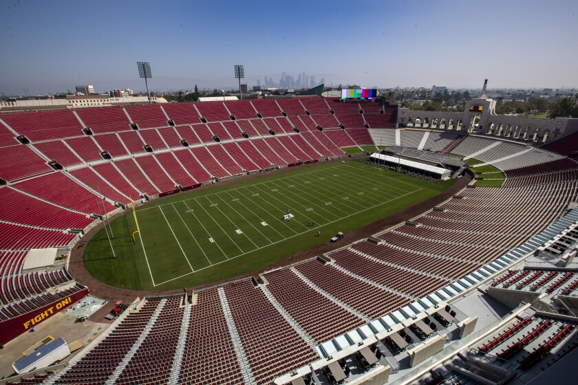 USC officials unveiled the $315 million renovation of the United Airlines Field at the Los Angeles Memorial Coliseum on Thursday.
