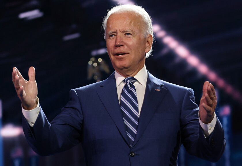 Democratic presidential nominee Joe Biden appears on stage on the third night of the Democratic National Convention.