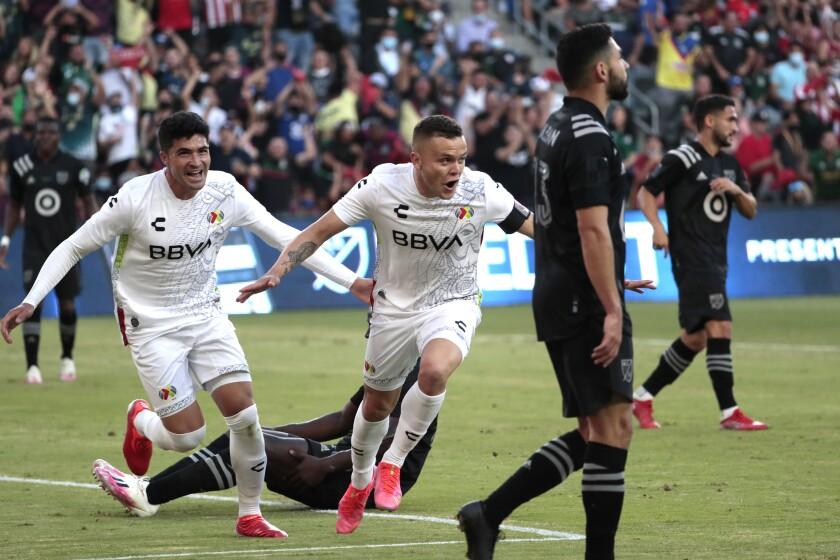 Los Angeles, CA, Wednesday, August 25, 2021 - Jonathan Rodriguez of Liga MX celebrates after scoring a first half goal against the MLS All-Stars at Banc of California Park. (Robert Gauthier/Los Angeles Times)