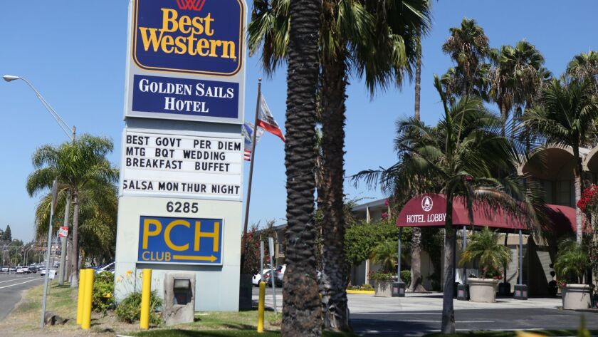 "The Best Western Golden Sails Hotel in Long Beach is seen on Sept. 15, 2016. The Long Beach City Council placed a measure on the Nov. 6 ballot requiring hotels in the city to give workers ""panic buttons"" to prevent sexual assaults."