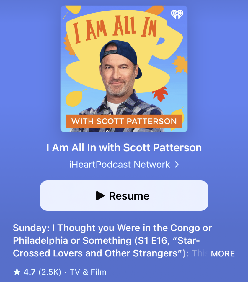 """A screenshot of Scott Patterson's """"I Am All In"""" podcast."""