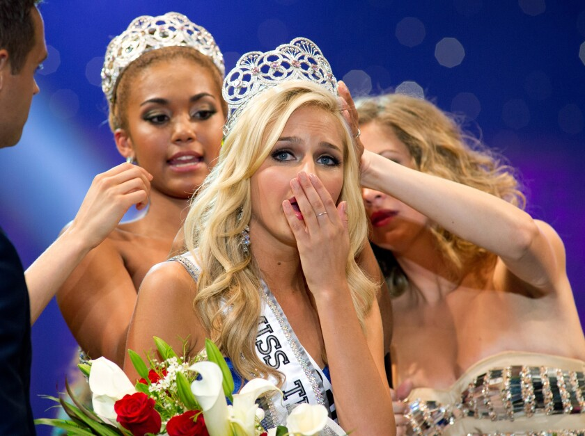 """Miss Teen USA Cassidy Wolf is crowned. The FBI has arrested a 19-year-old Temecula man who authorities believe to be involved in a """"sextortion"""" case involving Wolf."""