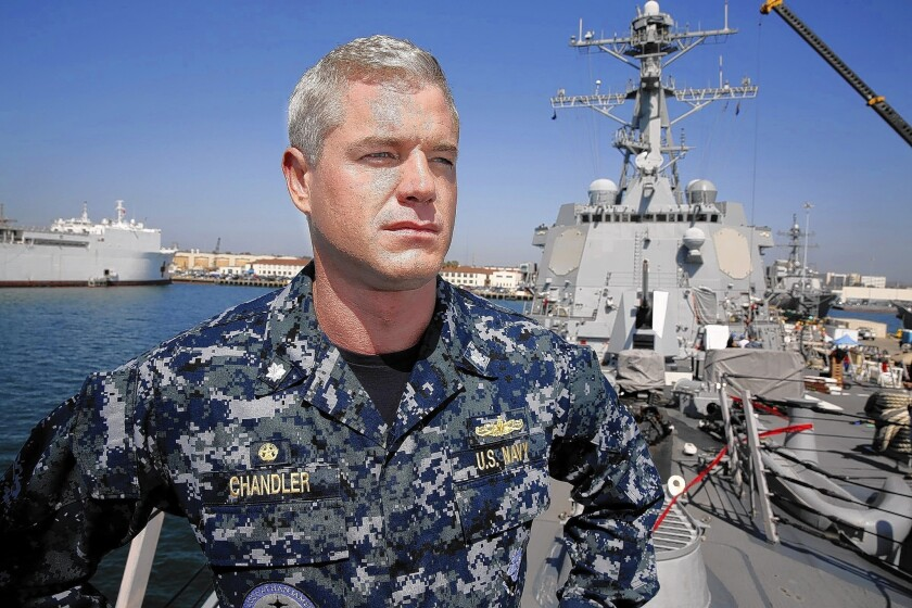 "Actor Eric Dane aboard the U.S. Navy destroyer Dewey during filming of ""The Last Ship."""