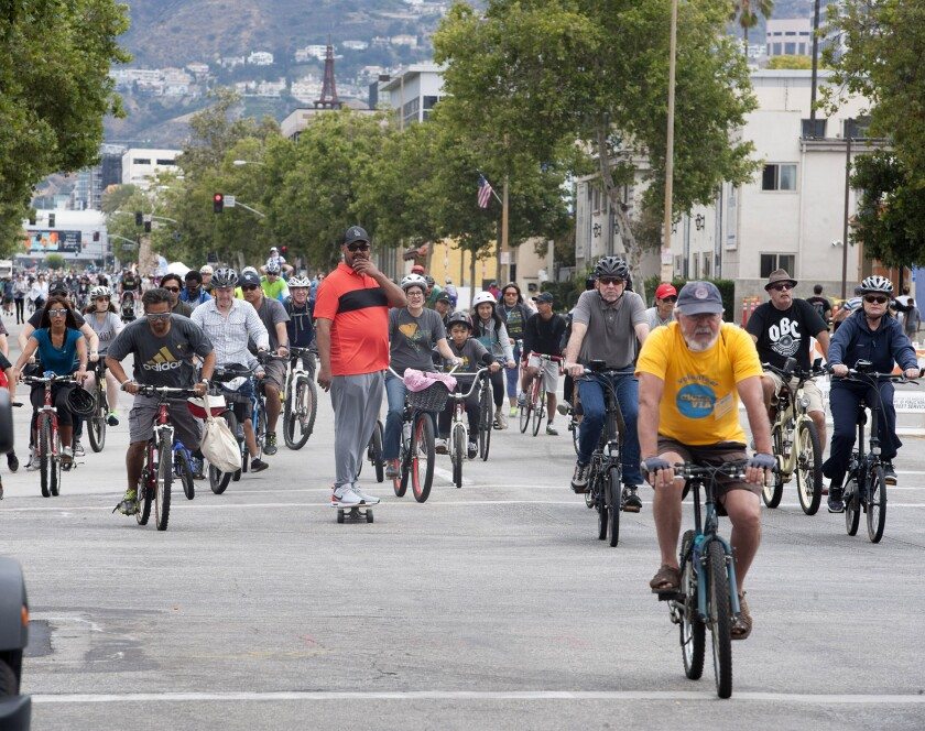 """Cyclists ride along Central Avenue during Glendale's first CicLAvia """"open streets"""" event almost three years ago. Cars will once again yield to pedestrians and cyclists for the second CicLAvia event planned for June 14."""