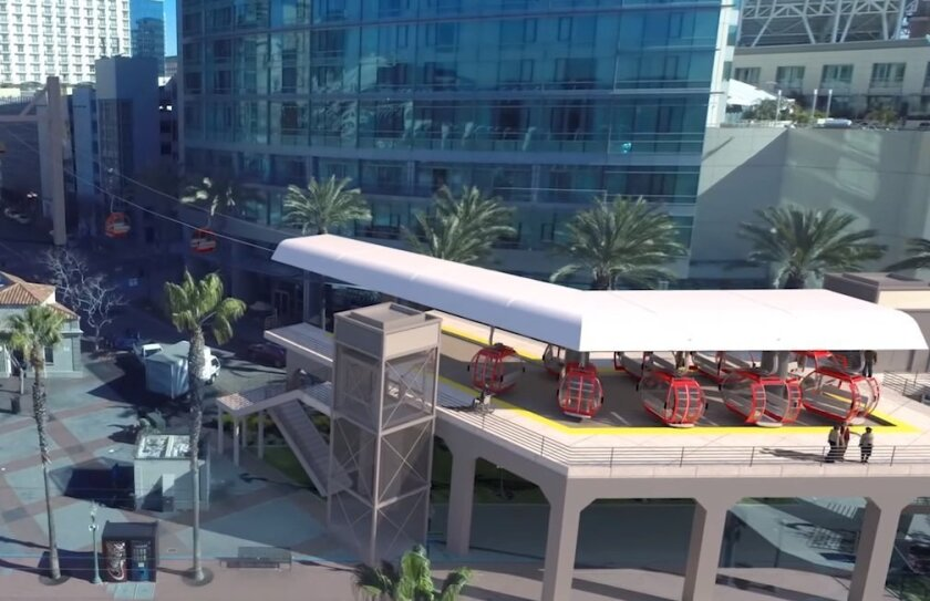 This screen shot from computer animation shows the Gaslamp Quarter station for the proposed San Diego Bay to Balboa Park Skyway.