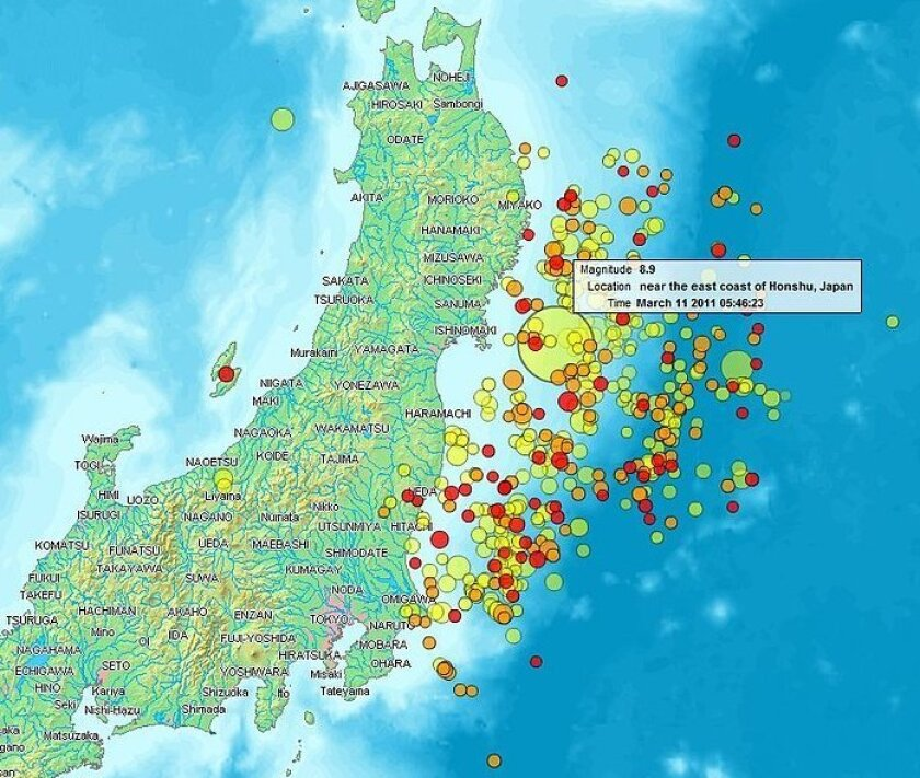 Map of the Sendai Earthquake 2011 and aftershocks until March 14, 2011 at 11:20. The size of the circles is a function of magnitude, and the color indicates the date: light green: March 11; yellow: March 12; orange: March 13; red: March 14. The quake was later upgraded to a 9.0. Cutline courtesy of