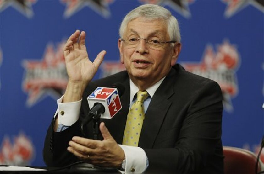 NBA Commissioner David Stern answers a question at a news conference during NBA All-Star Saturday Night basketball in Houston on Saturday, Feb. 16, 2013. (AP Photo/Pat Sullivan)