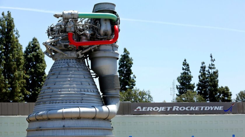 CANOGA PARK, CA-MAY 28, 2015: A model of the F-1 gas-generator cycle rocket engine used in the Satu