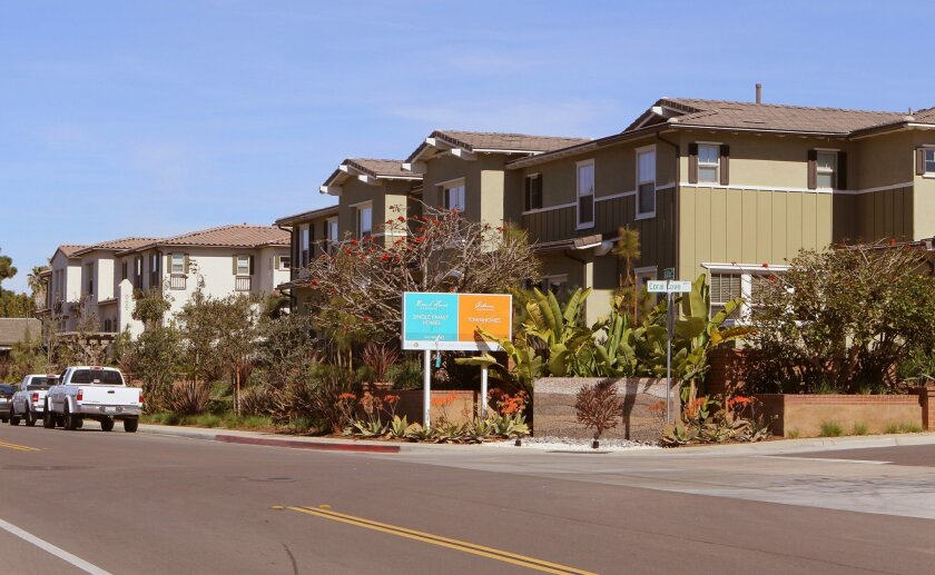 View of the Cabanas at Coral Cove housing complex on Vulcan Avenue in Encinitas. It's a Shea Homes project.