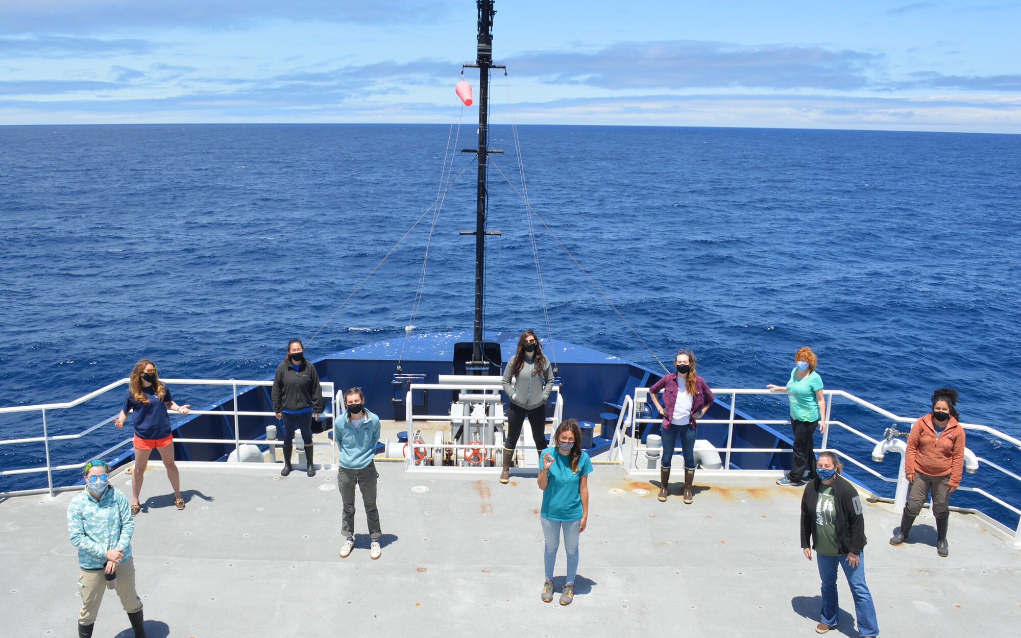 Members of the all women CalCOFI research team aboard the Naval research vessel R/V Sally Ride.
