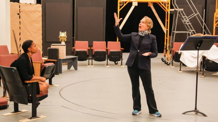 """Kate Burton, right, who plays Prospera in """"The Tempest,"""" rehearses at the Old Globe with Nora Carroll in the role of Miranda."""