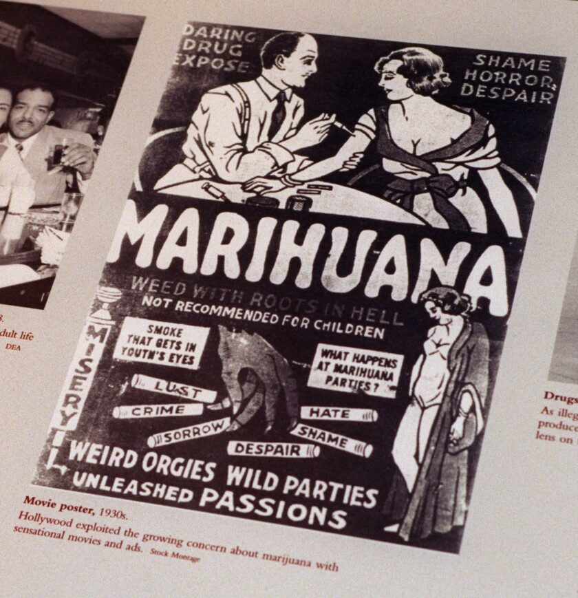 A movie poster from the 1930s exploiting the growing concern of marijuana.