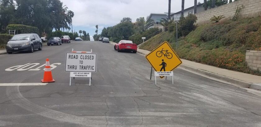 "As part of the city of San Diego's ""slow streets"" program, Diamond Street in Pacific Beach is closed to through traffic between Mission Boulevard and Haines Street in an effort to create a safe road for pedestrians and bicyclists."