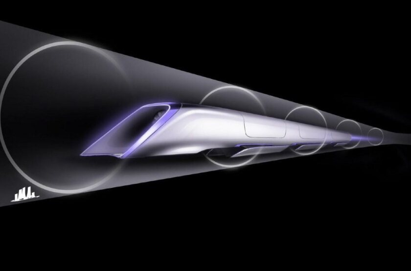 A drawing shows the conceptual plans for the Hyperloop, a solar-powered, elevated, 800-mph tubular transportation system.