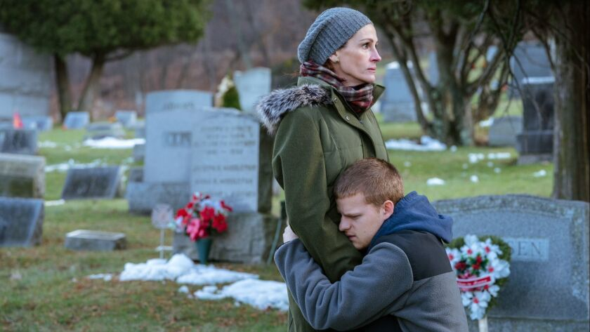 "(L-R) - Julia Roberts and Lucas Hedges in ""BEN IS BACK."" Credit: Mark Schafer / LD Ent./Roadside Att"