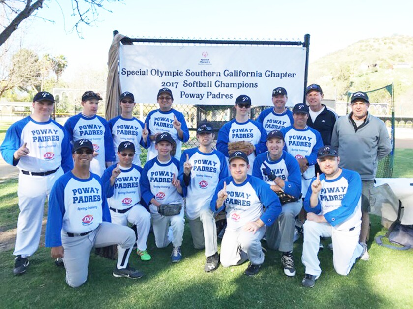 The Poway Padres members after winning the Special Olympics Southern California Chapter Softball Championship in 2017.