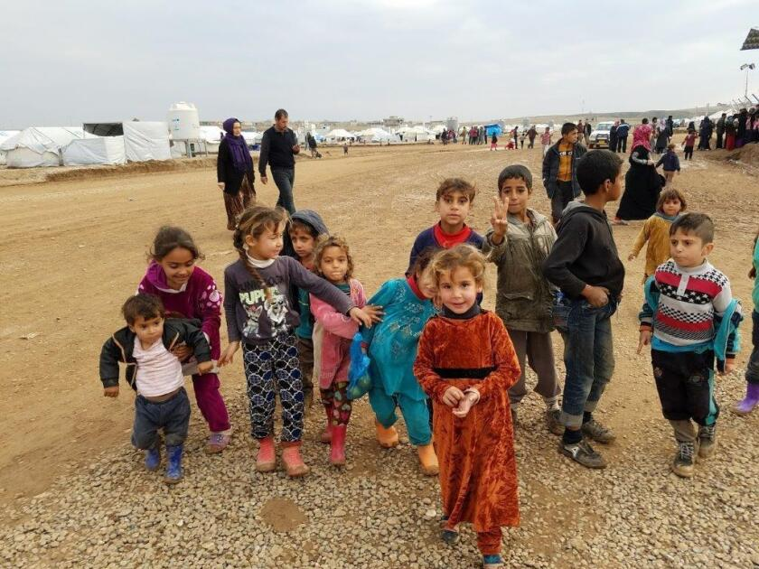 Displaced children near Mosul, Iraq