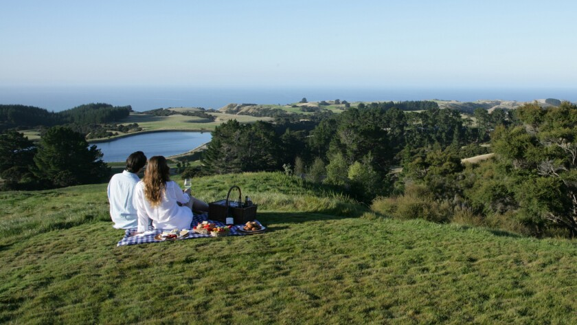 Picnic with a view at the Farm at Kidnappers, Hawke's Bay, New Zealand.