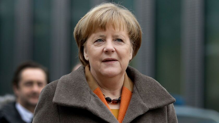 German Chancellor and head of the German Christian Democrats, Angela Merkel, arrives for a party meeting in Munich, Germany on Feb. 6.