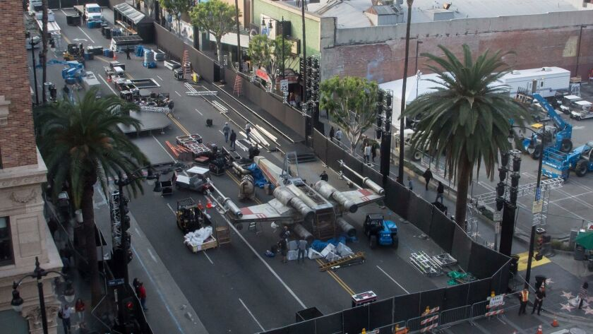 """The prop display sits on Hollywood Blvd in preparation for the premiere of """"Rogue One: A Star Wars Story."""""""