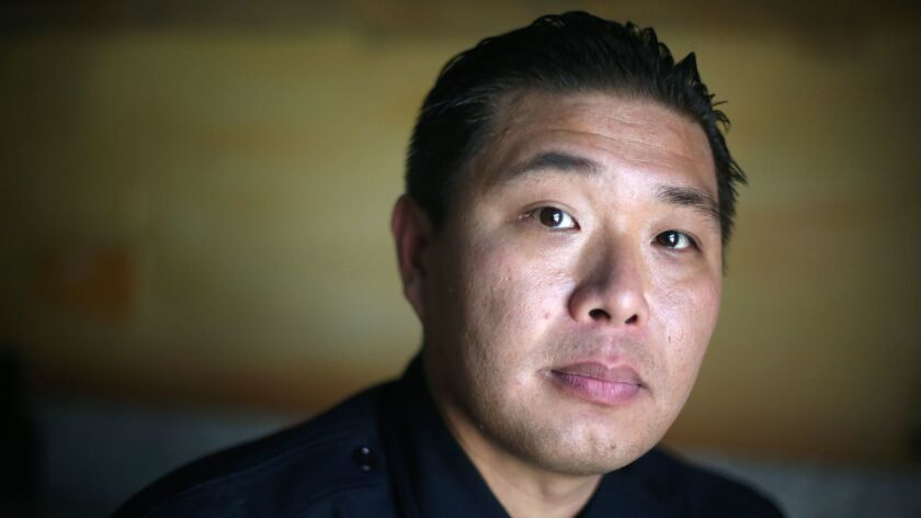 LOS ANGELES, CA-JUNE 6, 2019: Monterey Park Police officer Bob Hung poses for a portrait on June 6,
