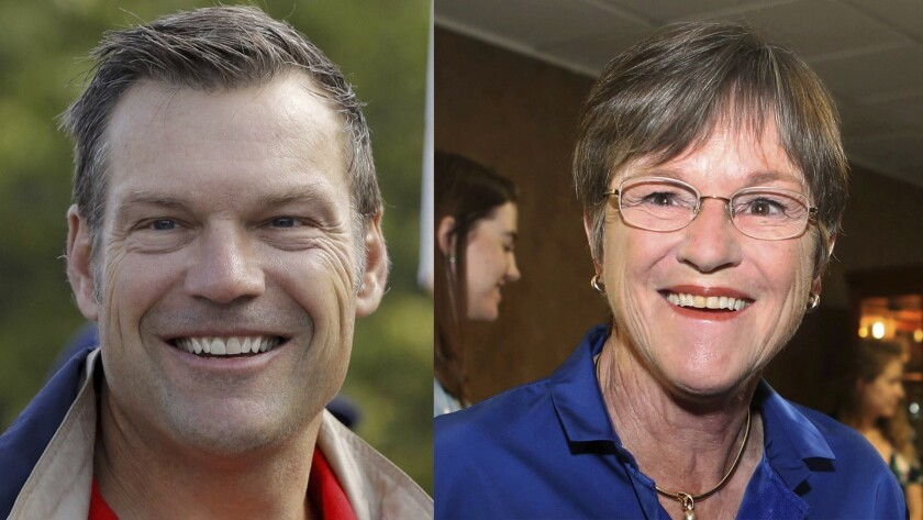 Kansas Secretary of State Kris Kobach and Kansas state Sen. Laura Kelly, D-Topeka