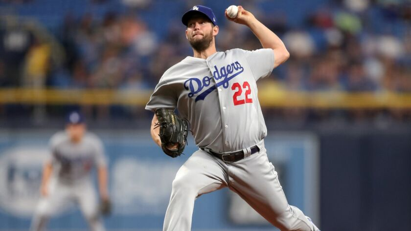 Los Angeles Dodgers left-hander Clayton Kershaw allowed two runs in 6⅓ innings in improving to 4-0 on the season.