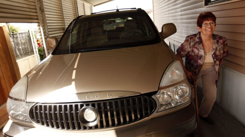 LEMOORE, CA - MAY 6, 2015 -- Jennifer Jordan, 58, is happy to have her 2004 Buick Rendezvous back i