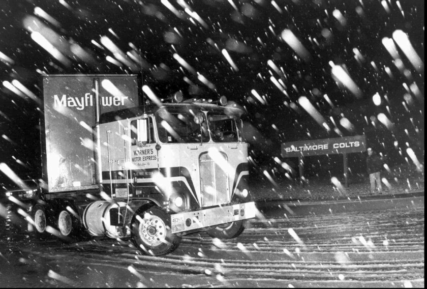 A moving truck carrying the Colts' equipment leaves Baltimore for Indianapolis in the early-morning hours of March 29, 1984.