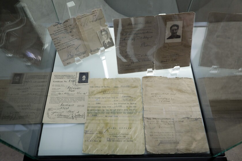 Joseph Alexander's liberation papers and German driver's license on display at the L.A. Museum of the Holocaust