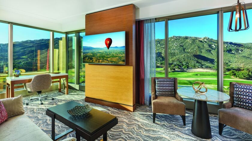 "Who needs that 65"" flat-screen TV? A corner suite in the new Pechanga Resort & Casino hotel tower has expansive views of the championship golf course Journey."