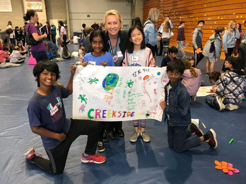 Creekside Elementary students at a 'No Place for Hate' workshop in early March (pre-COVID) in the Poway school district.