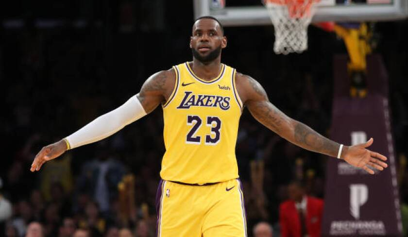 LeBron James reacts during a game against the Clippers at Staples Center on March 4.