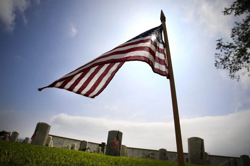 Flags are placed at each grave at Fort Rosecrans National Cemetery, site of the annual Memorial Service and Day of Remembrance.
