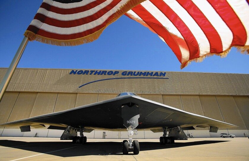 A B-2 stealth bomber is parked at a Northrop Grumman facility in the Antelope Valley. Northrop could build parts of the company's proposed Long-Range Strike Bomber in Palmdale.