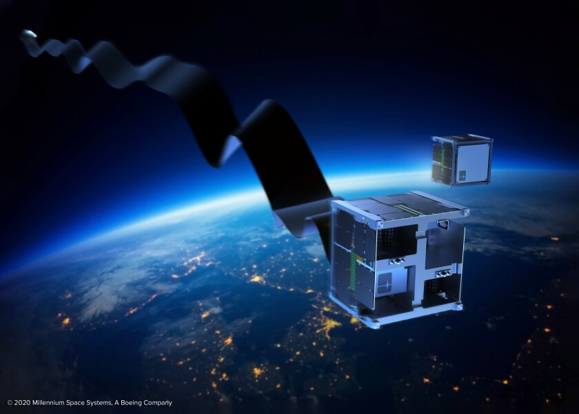 An artist rendition of a long ribbon unfolding from a square satellite  -  url https 3A 2F 2Fcalifornia times brightspot - How making satellites self-destruct can help clean up space