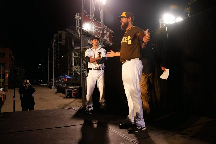 (From left to right) Padres players Wil Myers and James Shields models the new home uniform at Petco Park Tuesday.