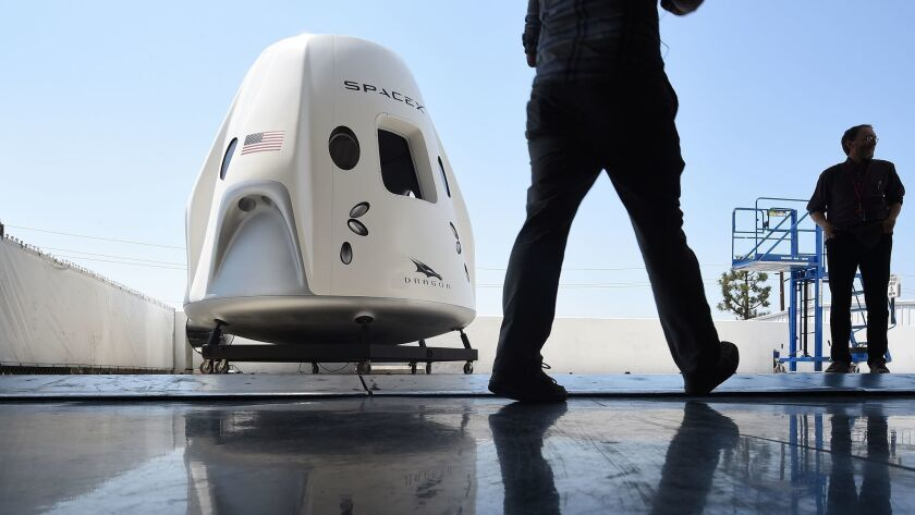 A mock-up of SpaceX's Crew Dragon spacecraft at the company's Hawthorne, Calif., headquarters.
